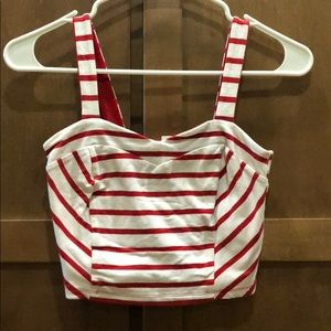 White and red stripe crop top